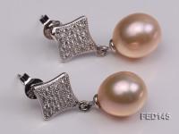 10x11mm Pink Drop-shaped Freshwater Pearl Earring