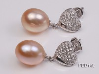 9x12mm Pink Drop-shaped Freshwater Pearl Earring