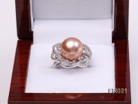 Natural 13mm pink round Edison pearl ring