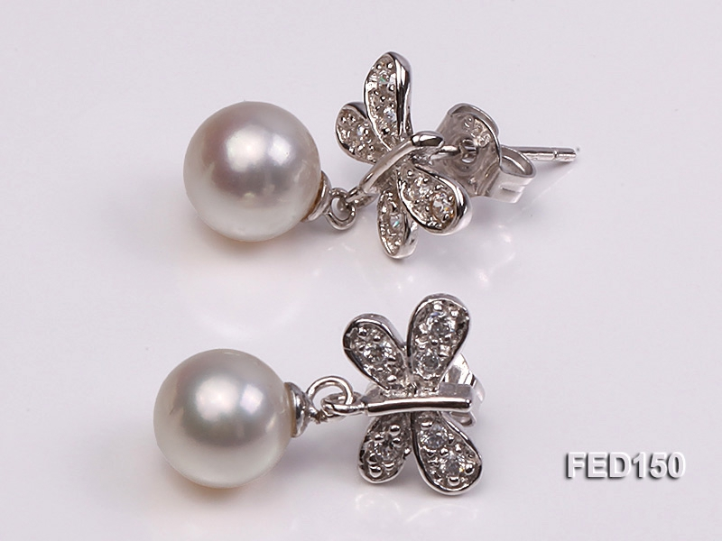 7-8mm White Round Freshwater Pearl Earring