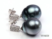 Gorgeous 13x16mm  black round tahitian pearl earring
