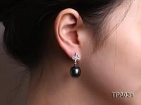 Gorgeous 13x16mm  black round tahitian pearl earring