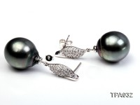 Gorgeous 14x16mm  black round tahitian pearl earring