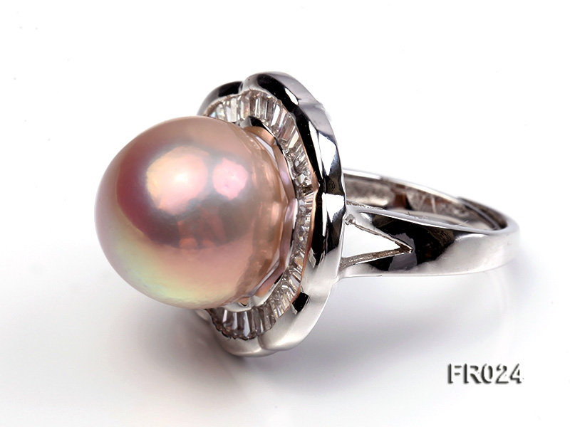 natural 15mm pink round Edison pearl ring