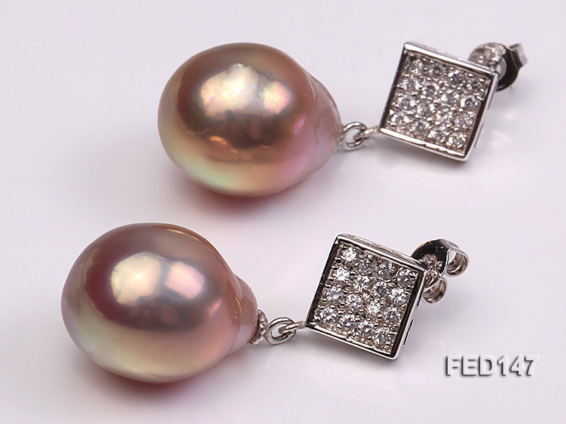 14x18mm Lavender Drop-shaped Freshwater Pearl Earring