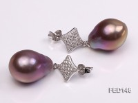 14x19mm Lavender Drop-shaped Freshwater Pearl Earring