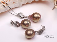 13×15-13x19mm Light-brown Freshwater Pearl Pendant and Earrings Set