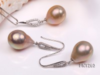 14×17-14x20mm Pink Freshwater Pearl Pendant and Earrings Set
