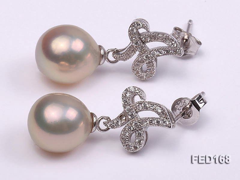 9x10mm White Drop-shaped Freshwater Pearl Earring