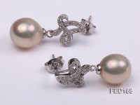 9x10mm White Drop-shaped Freshwater Pearl Earring
