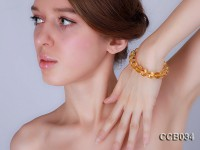 12mm Round Faceted Citrine Beads Elasticated Bracelet