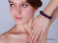 16mm Round Amethyst Beads Elastic Bracelet
