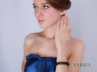 14x18mm Green Crystal Beads Elastic Bracelet