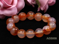 14mm red and white round agate bracelet