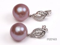 13mm Lavender Round Edison Pearl Earring