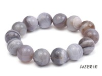 14mm grey round agate bracelet