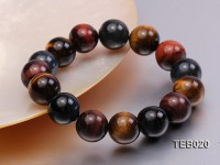 14mm Round Tiger Eye Beads Elasticated Bracelet