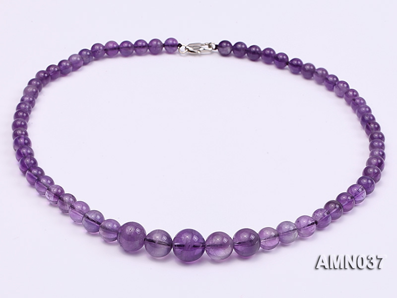 6.5-12mm Round Amethyst Beads Necklace
