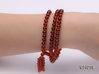 Natural 6mm Round Garnet Long Bracelet