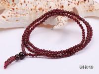 Natural 4mm Round Garnet Long Bracelet