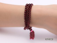 Natural 5mm Round Garnet Long Bracelet