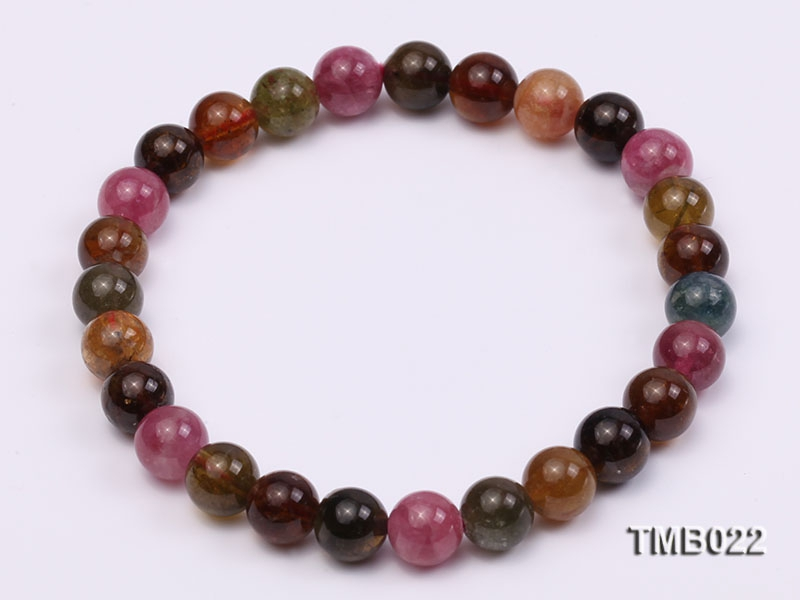7mm Colorful Round Natural Tourmaline Beads Elasticated Bracelet