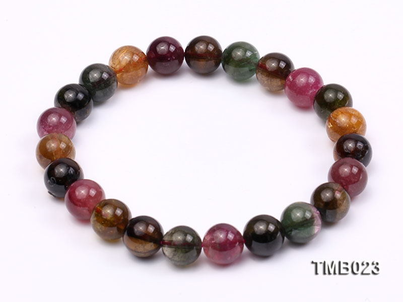 8mm Colorful Round Natural Tourmaline Beads Elasticated Bracelet
