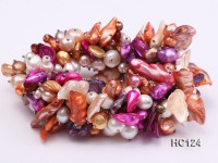 Multicolor pearl gemstone and crystal bracelet