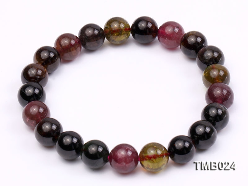 9mm Colorful Round Natural Tourmaline Beads Elasticated Bracelet