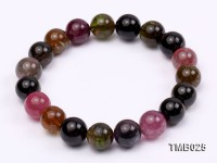 11mm Colorful Round Natural Tourmaline Beads Elasticated Bracelet