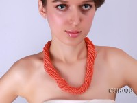 2.5mm Orange Round Coral Forty Strands Necklace
