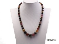 9-17mm Colorful Round Tourmaline Beads Necklace