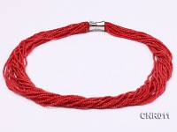 2.5mm Red Round Coral Twenty Strands Necklace