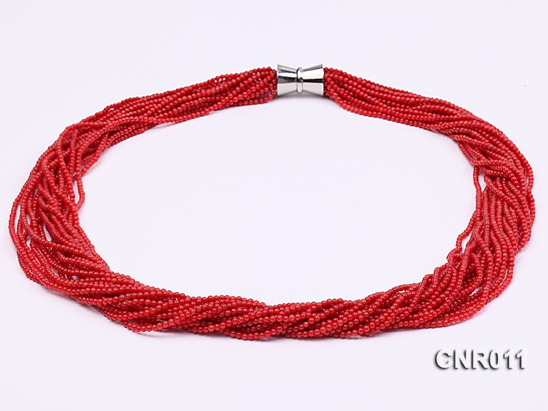 2.5mm Red Round Coral Twenty Strands Necklace