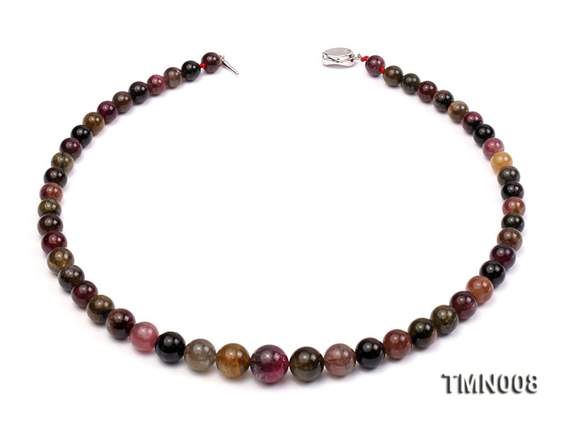 9-15mm Colorful Round Tourmaline Beads Necklace