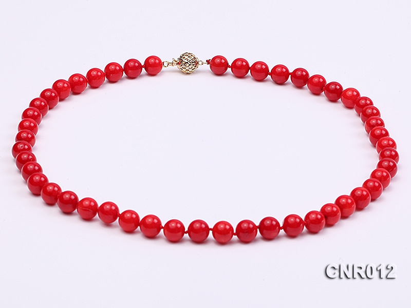 10mm Red Round Coral Necklace