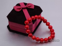 10mm Round Red Coral Bracelet
