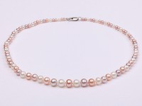 Quality 3.5-8mm Multi-color Graduated Round Freshwater Pearl Necklace