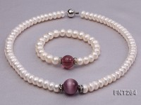 9mm White Flat Freshwater Pearl, Cat's Eye & Amethyst Pearl Necklace and Bracelet Set