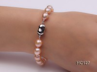 7-8mm oval pink freshwater pearl bracelet