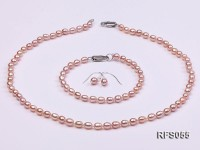 4-5mm Lavender Rice-shaped Freshwater Pearl Necklace, Bracelet and earrings Set