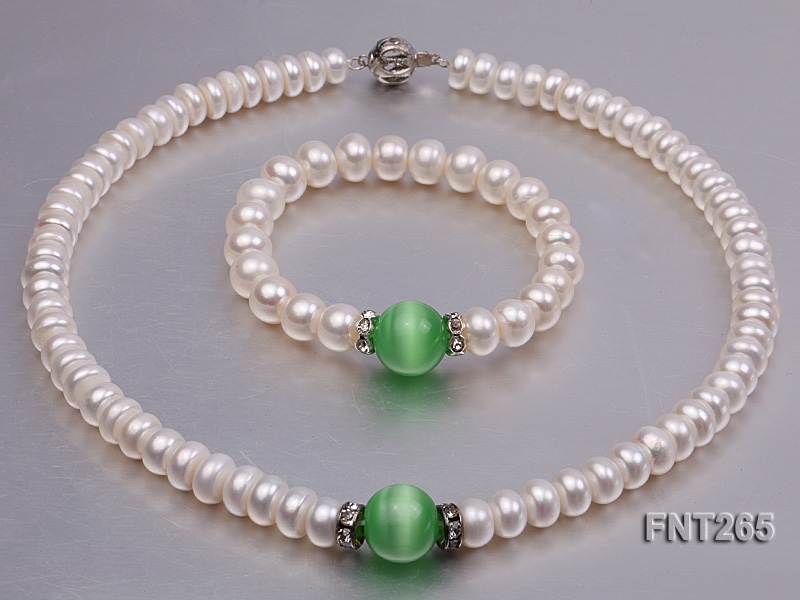 9-10mm White Flat Freshwater pearl & Cat's Eye Necklace and Bracelet Set