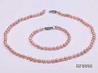 4-5mm Lavender Rice-shaped Freshwater Pearl Necklace and Bracelet Set