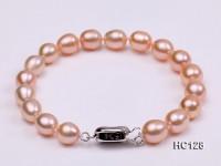 7.5-8mm AAA pink oval freshwater pearl bracelet