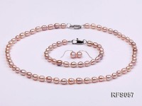 5-6mm Lavender Rice-shaped Freshwater Pearl Necklace, Bracelet and earrings Set