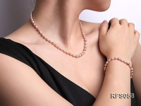 5-6mm Lavender Rice-shaped Freshwater Pearl Necklace and Bracelet Set