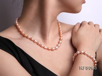 7-8mm Pink Rice-shaped Freshwater Pearl Necklace, Bracelet and earrings Set