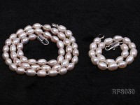 5-6mm White Rice-shaped Freshwater Pearl Necklace, Bracelet and earrings Set