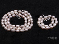 5-6mm White Rice-shaped Freshwater Pearl Necklace and Bracelet Set