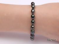 7-8mm black oval freshwater pearl bracelet